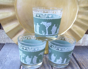 3 Rock Tumblers,Jeanette Hellenic,Greek, Roman,Glassware,Mint Green and White Glasses Barware