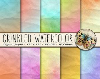 Watercolor Digital Paper, Crinkled Digital Paper, Crinkled Watercolor Paper
