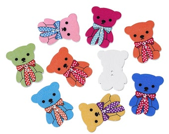 Wooden Teddy Bear Sewing Buttons Mixed colours 3.2cm x 2.4cm(1 2/8 x 1 Inch) Ideal for Baby Clothes or a Babies Shower Gift