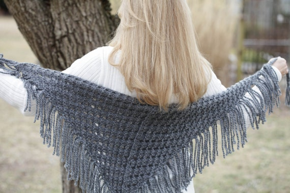 Loom Knit Eyelet Triangle Shawl PATTERN. Lace Scarf