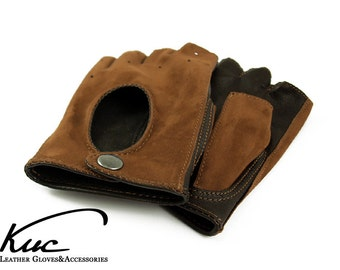 Fingerless car driving leather gloves, driving gloves, cycling gloves - brown nubuck and nappa leather -  FREE DELIVERY