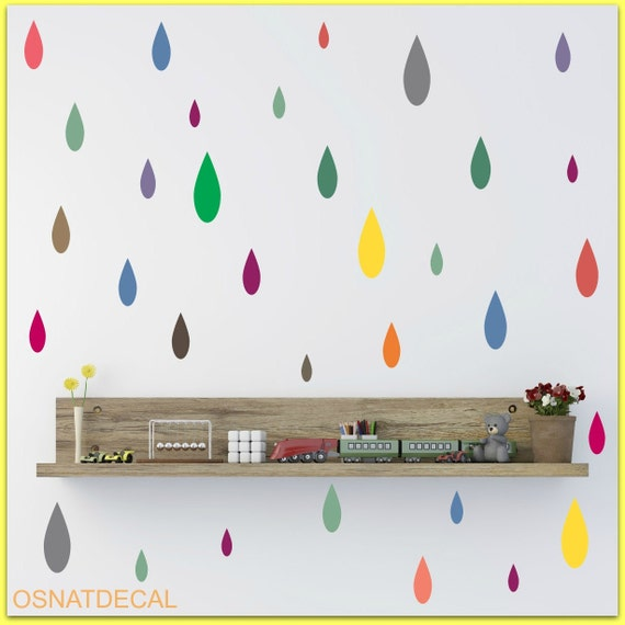 FREE SHIPPING Wall Decal Ranidrops 106. Clolrful Raindrops.Differnt Sizes. Nursery Wall Decal. Diy Decal. Kids Room Decal. Home Decor.