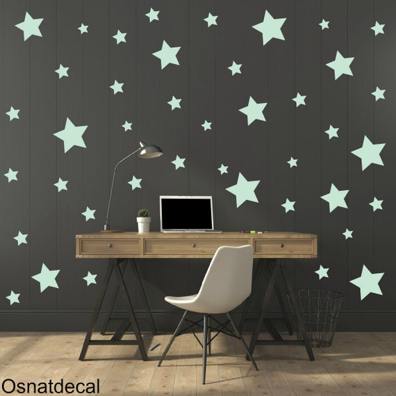 FREE SHIPPING Wall Decal  Different Size of 150 Stars Color Mint. Home Decor.Nursery Wall Sticker. Vinyl Wall Decal