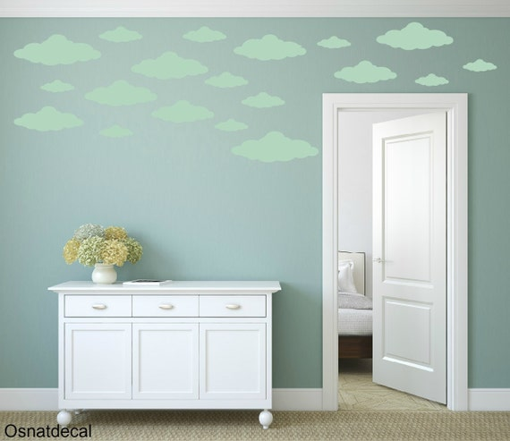 FREE SHIPPING Wall Decal 34 Different Sizes Of light Green clouds. Nursery Wall Decal. Vinyl Wall Decal. Diy Sticker.Kids Wall Decal
