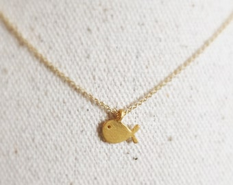 Origami Gold Silver Fish Necklace - Gold- Whale - Simple Style - Jewelry - Dogeared Necklace