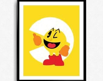 Super Smash Bros - Pac-Man Spray Art Poster - video game print, wall art, nintendo, pacman