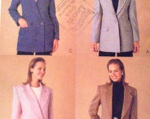 1999s Lined Jacket Pattern McCalls 2341 Size 12 Sewing Pattern Semi-fitted Single or Double Breasted Suit Jacket Vents Pockets Classic UNCUT