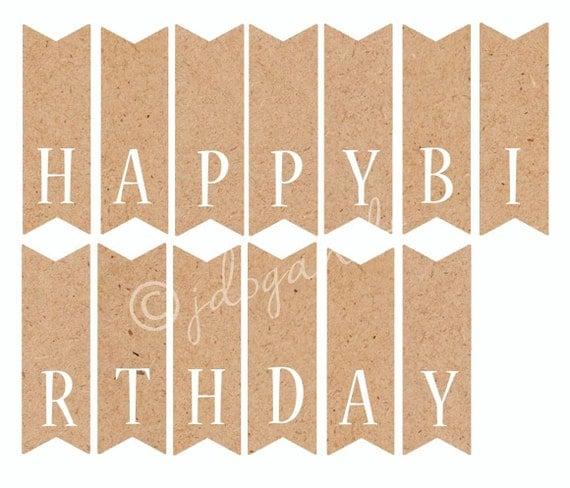 Items similar to Printable Happy Birthday Cake Topper Kraft Paper