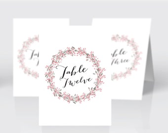 Printable Wedding table numbers | Rustic flowers wreath | Pink | floral | instant download