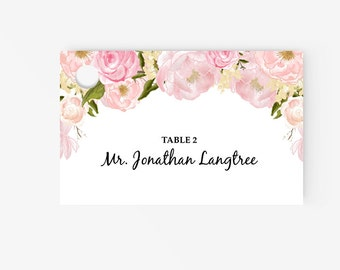 Printable Place Card Template | Editable Escort Word Tent Card and Gift card | Instant Download  | DIY You print | Peony | Blush Pink Floral