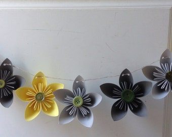 7 Paper Flowers - Paper Flowers Garland- Kusudama Garland - Paper mobile - Wedding mobile