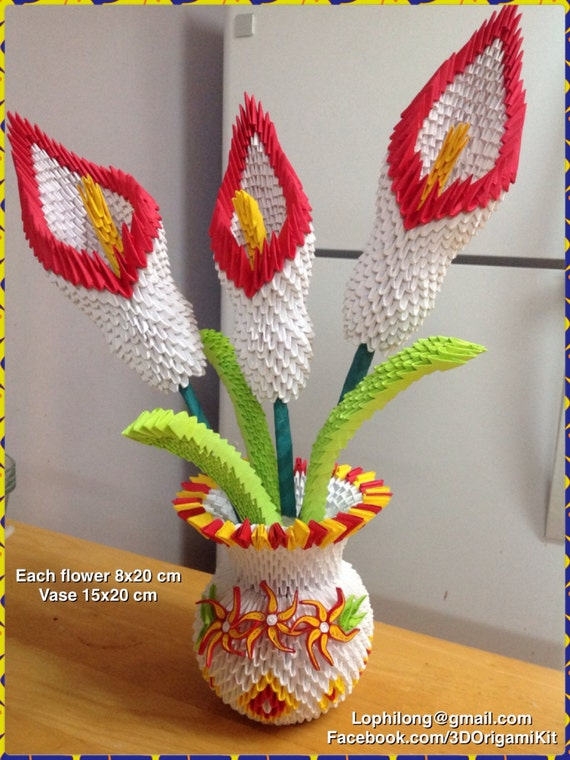 Fabuleux 3D Origami: Lily vase Lily origami flower paper Decoration AZ19