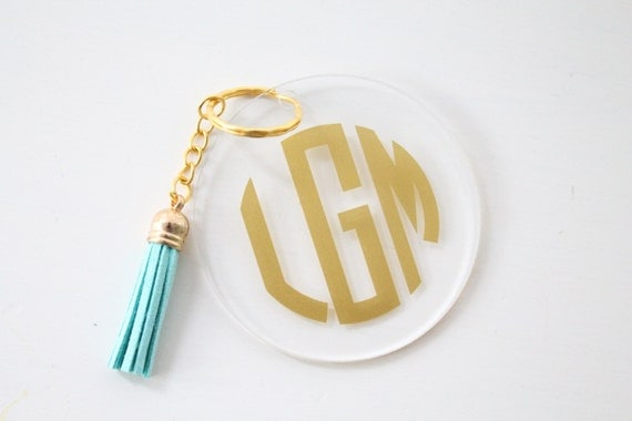 Acrylic Monogram Tassel Key Chain