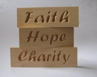 Inspirational Wood Signs Word Art Set Faith Hope Charity