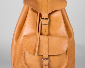 Handmade Leather Backpack, Extra Large, Leather one pocket Rucksack, Leather Satchel, Travel bag,  Natural Color,