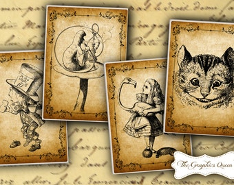Digital Download Vintage Alice in Wonderland Party Print Digital Collage Sheet Jewelry Holders Digital Cards, Tags, ATC, Aceo