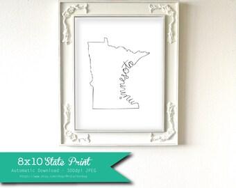 Printable Minnesota State Art Print 8x10 Digital Wall Art Gift