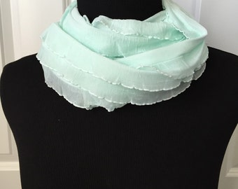 Mint green spring/summer infinity scarf!  Light and airy ruffle knit infinity scarf! Not bulky! Lightweight! Beautiful necklace scarf!