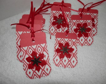 HOLIDAY GIFT TAGS, Red and White Gift Tags, Poinsettias, Christmas Gift Tags. Gift Tags,