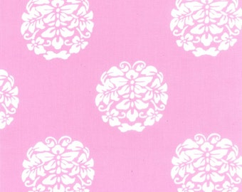 Quilting cotton fabric by the yard, pink medallion fabric, 100% cotton, by fabric designer Paula Prass for Michael Miller. 1 yard left.