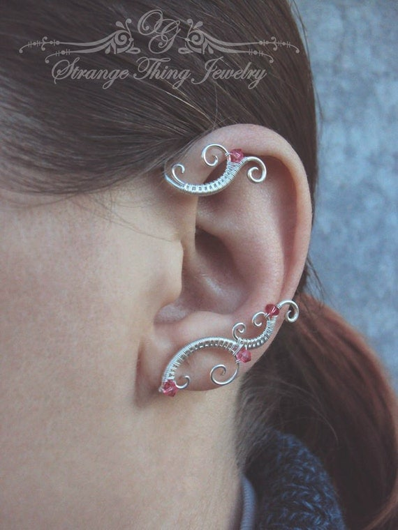 Pair of wire wrapped ear cuffs Winter sunset