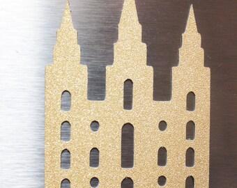 LDS Temple Magnet - Salt Lake City - Castle - Gold/Silver