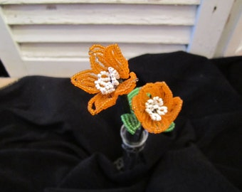 Vintage French beaded flowers set of 2