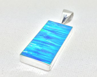 Large Blue Opal Pendant // 925 Sterling Silver // Large Rectangle Setting // Fire Opal Pendant // Sterling Opal Pendant