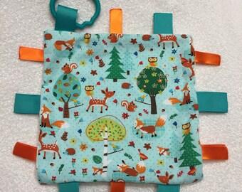 Teal Forest Friends Sensory Blanket
