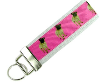 Personalized Key Chain / Key Fob Pug Dogs With Optional Initials