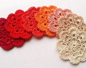 crochet flower applique 8PCS in red shades 2'' wide / crochet embelishments, crochet motifs