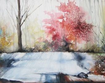 Walk in The Forest, Original Watercolor Painting