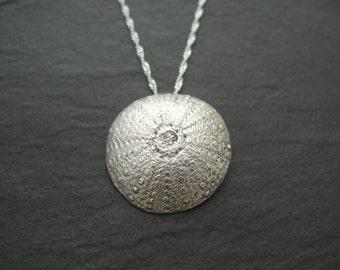 Fine silver sea urchin pendant