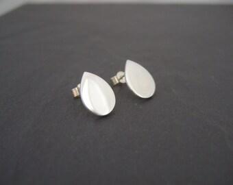 Teardrop shaped fine silver studs