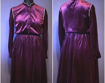 Vintage purple dress / Velvet dress /  Size S - L / 80s