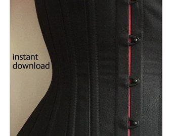 Corset Pattern! Aliz - a modern 16 panel under-bust corset pattern with customisable options_size plus