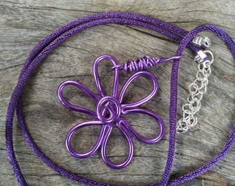 Spring inspired purple flower wire wrapped pendant