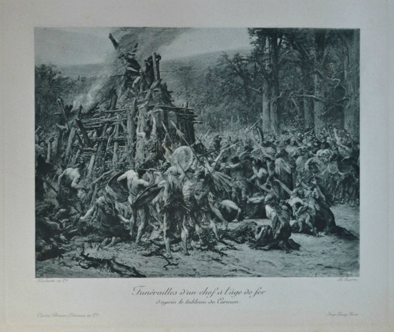 Chief funeral in the iron age. Antique lithograph. 111 years old print. 11'7 x 8'2 inches.