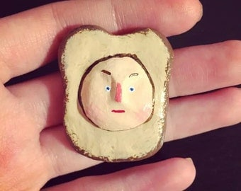 Bread man clay brooch