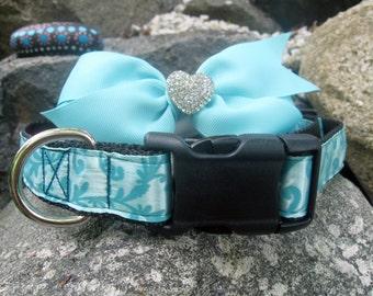 Pretty Blue Bow dog collar, rhinestone dog collar, small dog collar, Removable bow, dog collar for girls, robins egg blue, female dog