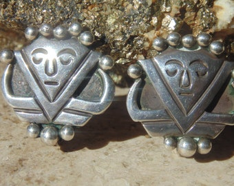 Taxco 980 Silver Warrior Screw Back Earrings