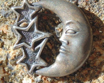 D'Molina Sterling Silver Moon and Stars Brooch
