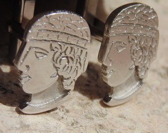 Sterling Silver Greek / Roman Bust Cuff Links