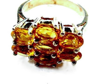 Vintage Sterling Silver & Citrine Ladies Ring