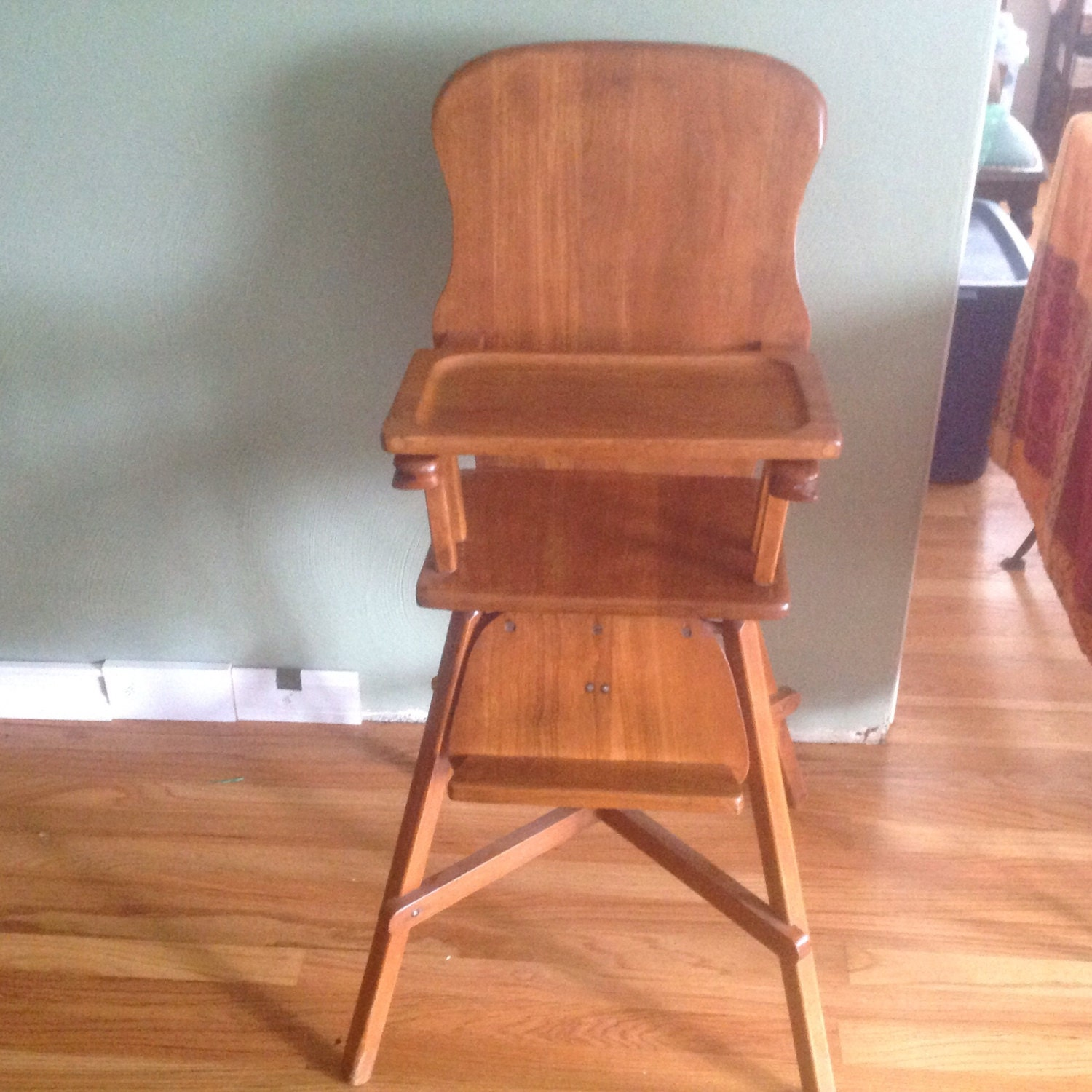 Antique Oak Maple Highchair With Tray Baby HighChair