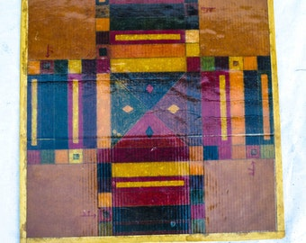 Americana Folk Art Home Made Parcheesi Board on Corrugated 23 x 23