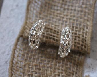 Vintage Silver Tone Filigree Clip-On Loop Earrings