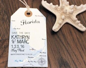 Florida Save the Date Luggage Tag Magnet. Destination Wedding. Florida Keys Design Fee