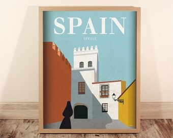 Spain. Wall decor art. Poster. Illustration. Digital print. Wall art decor. Travel. 15,75x19,69 inch
