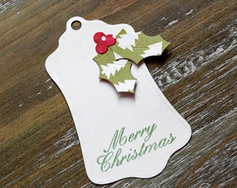 Christmas Holly label tag-set of 5